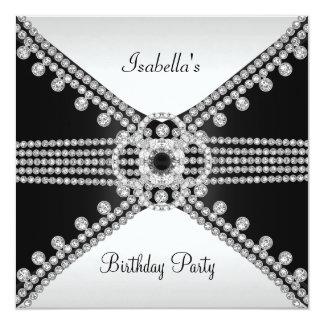 Festa de aniversário branca preta das jóias dos convite quadrado 13.35 x 13.35cm