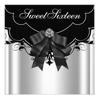 Festa de aniversário branca preta de prata do doce convite personalizados