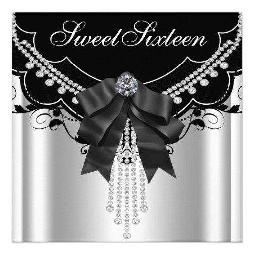 Festa de aniversário branca preta de prata do doce convites