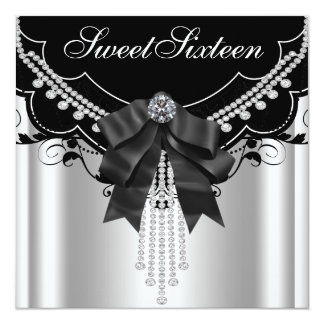 Festa de aniversário branca preta de prata do doce convite quadrado 13.35 x 13.35cm
