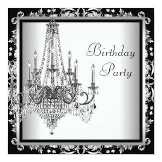 Festa de aniversário branca preta do candelabro do convite quadrado 13.35 x 13.35cm