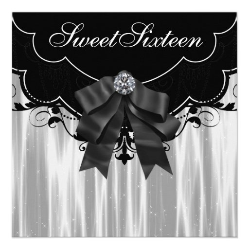 Festa de aniversário branca preta do doce dezessei convite