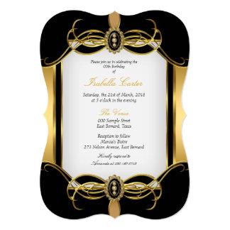 Festa de aniversário branca preta dourada da convite 12.7 x 17.78cm