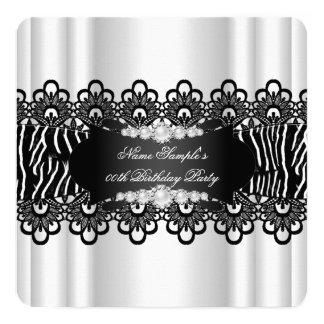 Festa de aniversário branca preta elegante da convite quadrado 13.35 x 13.35cm