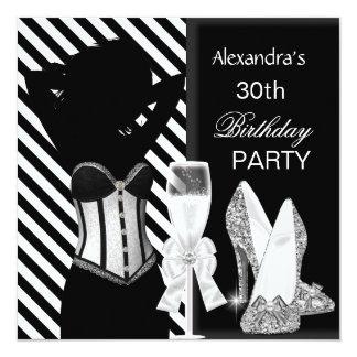 Festa de aniversário branca preta glamoroso da convite quadrado 13.35 x 13.35cm