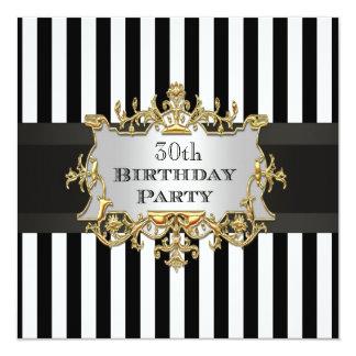 Festa de aniversário branca preta Invit da listra Convite Quadrado 13.35 X 13.35cm