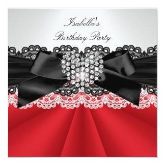 Festa de aniversário branca preta vermelha convites personalizados