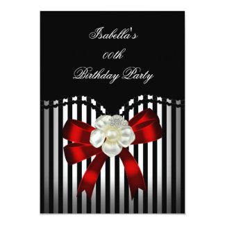 Festa de aniversário branca preta vermelha da convite 12.7 x 17.78cm