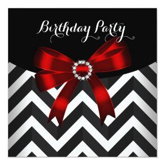 Festa de aniversário branca preta vermelha da convite quadrado 13.35 x 13.35cm