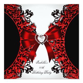 Festa de aniversário branca preta vermelha do convite quadrado 13.35 x 13.35cm