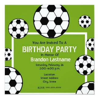 Festa de aniversário - campo de futebol & bolas de convite quadrado 13.35 x 13.35cm