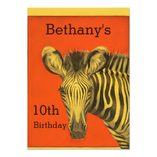 Festa de aniversário chique da laranja da zebra do convite 11.30 x 15.87cm