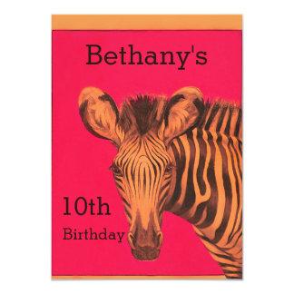 Festa de aniversário chique do rosa da zebra do convite 11.30 x 15.87cm