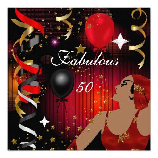 Festa de aniversário cinqüênta 2 glamoroso da senh convite personalizados