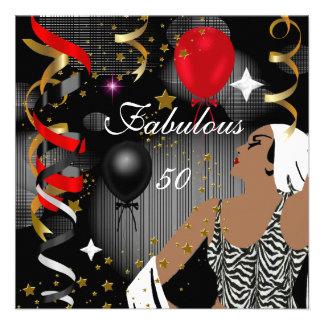Festa de aniversário cinqüênta 3 glamoroso da senh convite