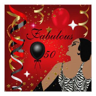 Festa de aniversário cinqüênta 4 glamoroso da senh convite personalizados