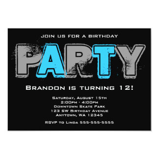 Festa de aniversário cinzenta e azul do Grunge Convites Personalizados