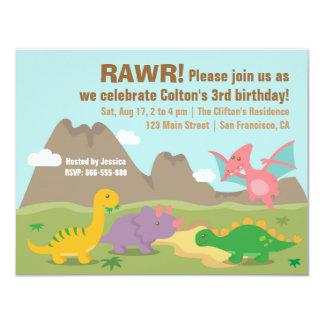 Festa de aniversário colorida bonito do dinossauro convite 10.79 x 13.97cm