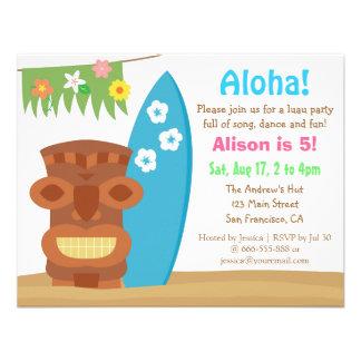 Festa de aniversário colorida da praia de Havaí Convites Personalizados
