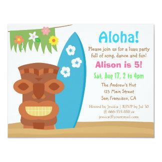 Festa de aniversário colorida da praia de Havaí Convite 10.79 X 13.97cm