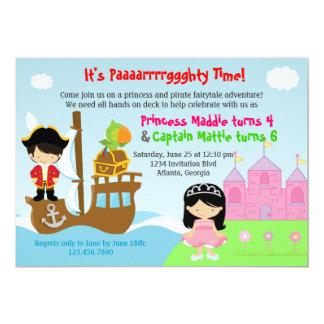 Festa de aniversário comum dos gêmeos da princesa convite personalizados