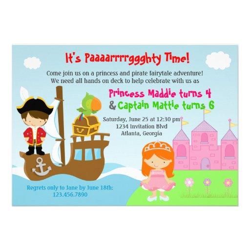 Festa de aniversário comum dos gêmeos da princesa  convites