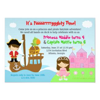 Festa de aniversário comum dos gêmeos da princesa convite 12.7 x 17.78cm