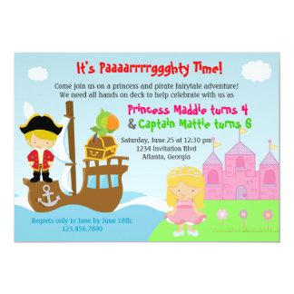 Festa de aniversário comum dos gêmeos da princesa convites personalizado