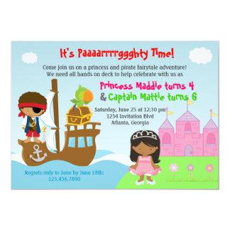 Festa de aniversário comum dos gêmeos da princesa convites personalizados