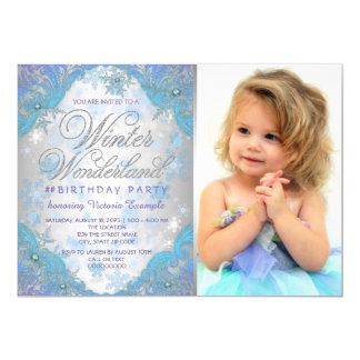 Festa de aniversário congelada do país das convite 12.7 x 17.78cm