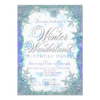 Festa de aniversário congelada país das maravilhas convite 11.30 x 15.87cm