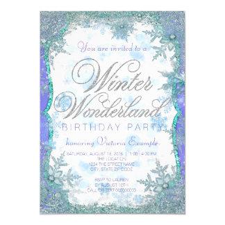 Festa de aniversário congelada país das maravilhas convite 12.7 x 17.78cm