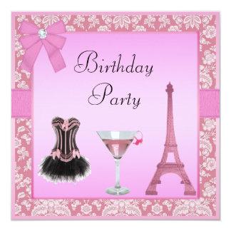 Festa de aniversário cor-de-rosa chique do convite quadrado 13.35 x 13.35cm