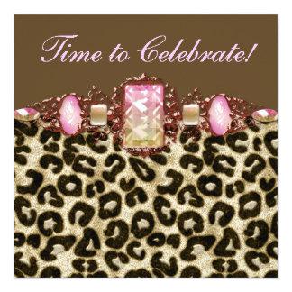 Festa de aniversário cor-de-rosa cor-de-rosa do convite quadrado 13.35 x 13.35cm