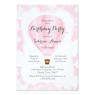Festa de aniversário cor-de-rosa da menina do convite 12.7 x 17.78cm