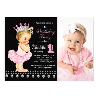 Festa de aniversário cor-de-rosa da princesa convite 11.30 x 15.87cm