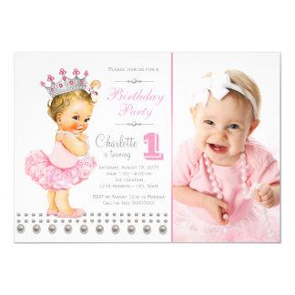 Festa de aniversário cor-de-rosa da princesa convite 12.7 x 17.78cm