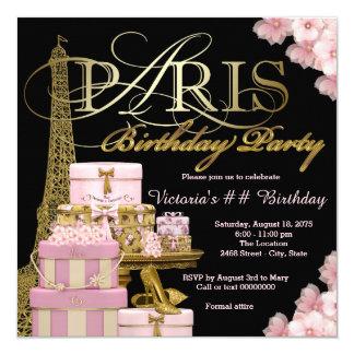 Festa de aniversário cor-de-rosa de Paris Convite Quadrado 13.35 X 13.35cm