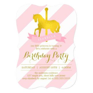 Festa de aniversário cor-de-rosa do cavalo do convite 12.7 x 17.78cm
