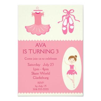 Festa de aniversário cor-de-rosa do dançarino de convite 12.7 x 17.78cm