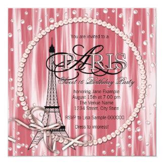 Festa de aniversário cor-de-rosa do doce 16 de convite quadrado 13.35 x 13.35cm
