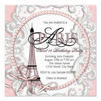 Festa de aniversário cor-de-rosa do doce 16 de convites personalizados