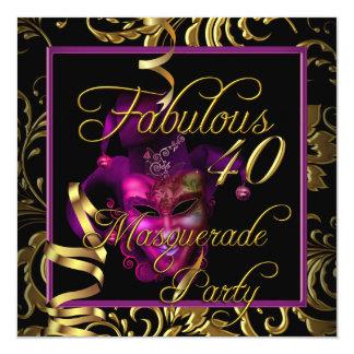 Festa de aniversário cor-de-rosa do ouro 40 convite quadrado 13.35 x 13.35cm