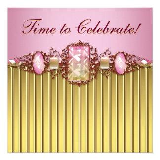 Festa de aniversário cor-de-rosa do ouro das jóias convites personalizado