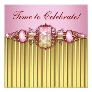 Festa de aniversário cor-de-rosa do ouro das jóias convite quadrado 13.35 x 13.35cm