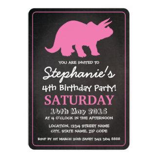 Festa de aniversário cor-de-rosa do quadro das convite 12.7 x 17.78cm