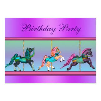 Festa de aniversário cor-de-rosa e roxa do pônei convite 12.7 x 17.78cm