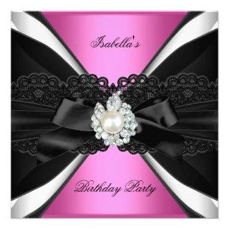 Festa de aniversário cor-de-rosa elegante do convites