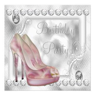 Festa de aniversário cor-de-rosa elegante dos calç convite