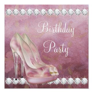 Festa de aniversário cor-de-rosa elegante dos convite quadrado 13.35 x 13.35cm
